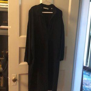 Black silk tunic dress with pockets deep v neck